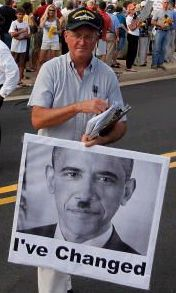 America Obama has changed - Obama with a Hitler mustache
